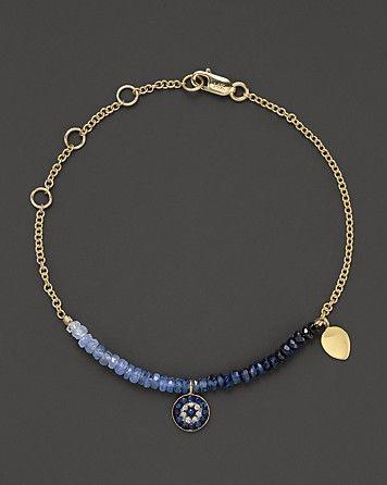 Meira T Diamond Sapphire and 14K Yellow Gold Evil Eye Bracelet