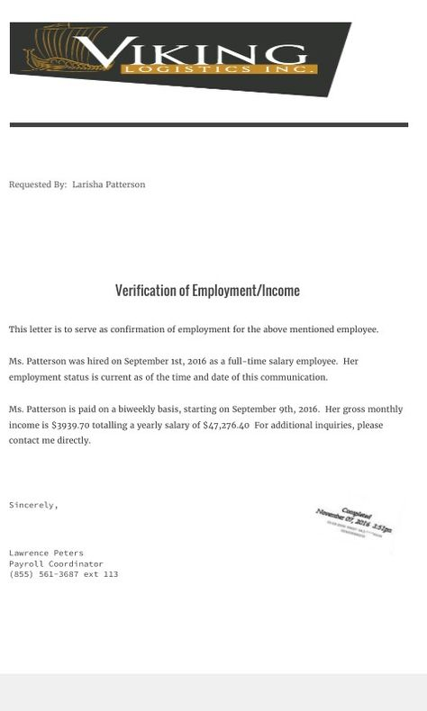 Income Employment Letter  Verification Documents