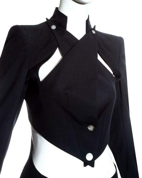 Alexander Mcqueen Wool Blazer Cut Outs Ss 1999 Jacket, Black Size 36