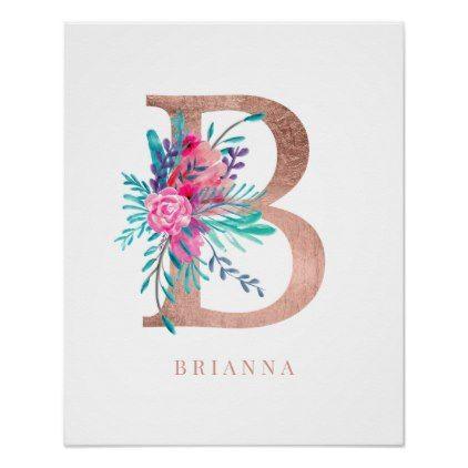 Letter B Monogram Pink Floral Rose Gold Nursery Poster Zazzle Com Rose Gold Nursery Gold Nursery Letter B