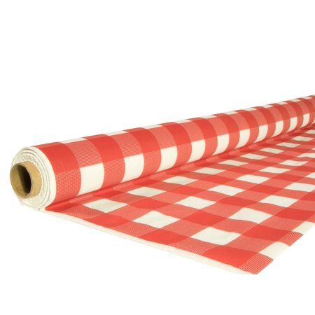 Exquisite 40 In X 100 Ft Plastic Red Gingham Tablecloth Roll