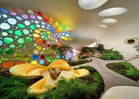 Nautilus shell house, wonderful project by Arquitectura Orgánicah. Organic form to function. Beautiful movement for furnishings and art glass window. Maison Earthship, Earthship Home, Organic Architecture, Architecture Design, Amazing Architecture, Shell House, Underground Homes, Unusual Homes, Earth Homes