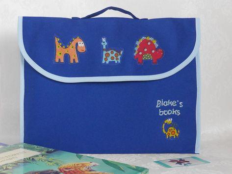 89df2cc9a3 Personalised dinosaur book bag