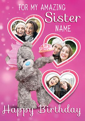 Me To You Amazing Sister Multi Photo Upload Birthday Card Sister Birthday Card Birthday Cards Girl Birthday Cards