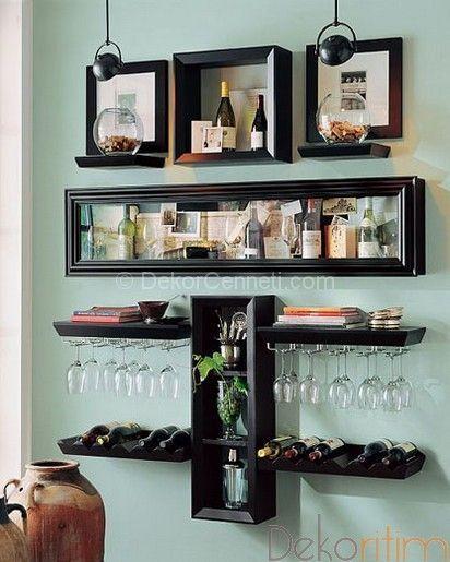 Değişik Mutfakta Dekoratif Raf Modelleri Görselleri Bar Ev