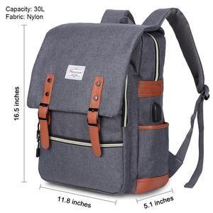 Modoker 15'' Vintage Laptop Backpack with USB Charging Port