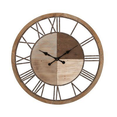 Oversized Wood And Metal 36 Wall Clock Oversized Wall Clock Retro Wall Clock Wood Wall Clock