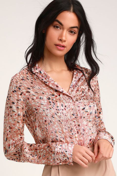 2621012674ad Zarilla Blush Multi Leopard Print Long Sleeve Button-Up Crop Top ...