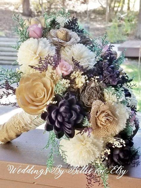 Sola Bouquet, Plum Lavendar Champagne Sola Bouquet, Burlap Lace, Alternative Bouquet, Bridal Accessories, Keepsake Bouquet, Wedding Bouquet  #PlumBouquet #WeddingFlowers #SolaBouquet #KeepsakeBouquets #PurpleSolaBouquet #FallWedding #PlumChampagneWed #PlumWedding #FallBouquet #PurpleGoldWedding