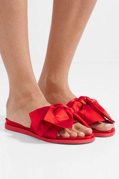 Simone Rocha Bow embellished Satin Slides Red