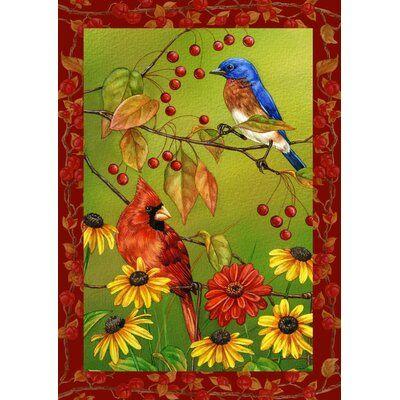 Toland Home Garden Birds N Berries 28 X 40 Inch House Flag Fall Garden Flag Bird Garden Garden Flags