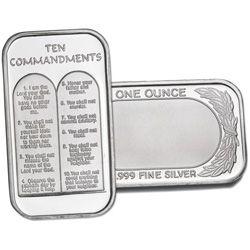 1 Oz Silver Ten Commandments Bar Company Holiday Gift Gift Catalog Fine Silver