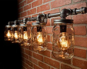 sale retailer 6b615 42e26 Mason Jar Light Fixture - Industrial Light - Rustic Light ...