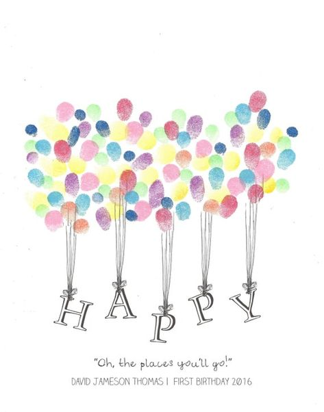 This is a beautiful custom printable original pen and ink drawing print, Happy being lifted by Balloons Fingerprint Guest Book. You can place fingerprints all around to form the balloons.  Great for any occasion, from Birthdays to Teacher Gifts and everywhere in between!  I customize it and you