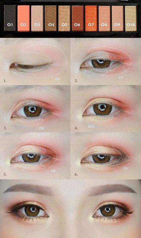 Orange Makeup Tutorial von mollyeberwein - Make Up Ideen - Eye-Makeup Make Up Geek, Make Up Tools, Make Up Tutorials, Korean Makeup Look, Korean Makeup Tips, Korean Makeup Tutorials, Korean Beauty, Makeup For Asian Eyes, Korean Makeup Ulzzang