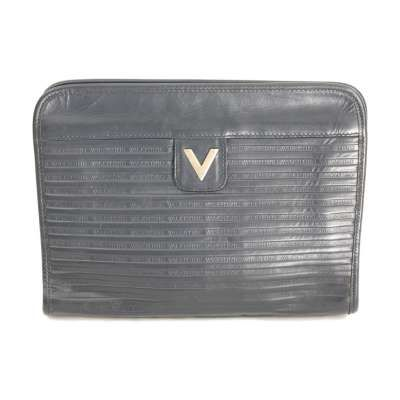 Mario Valentino Blue Vintage Leather Clutch Bag In 2020 Vintage Bags Leather Clutch Bags Mario Valentino Bags