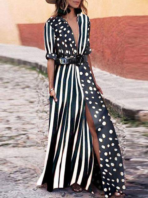 Fashionable V-Neck Striped Polka Dot Maxi Dress