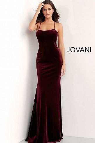 8b3f0d53a6 Burgundy Fitted Tie Back Velvet Prom Dress 63942