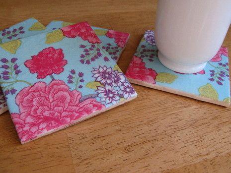use cute napkins to make coasters