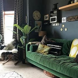 Image Result For Hunter Green Couch Blue Living Room Green Sofa