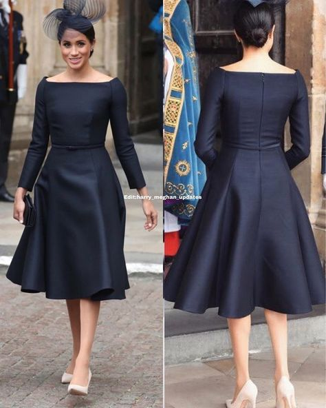 Meghan looked stunning as she arrived at Westminster Abbey for the start of the celebrations wearing a black dress by Dior and black hat by Stephen Jones and Cartier White Gold Diamond Earrings / and shoes also from Dior (the information so far).