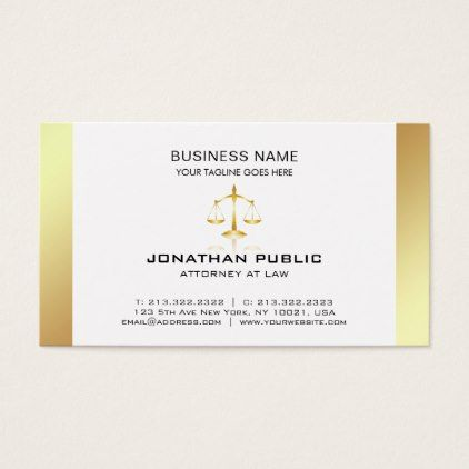 Attorney At Law Office Lawyer Elegant Plain Luxury Business Card