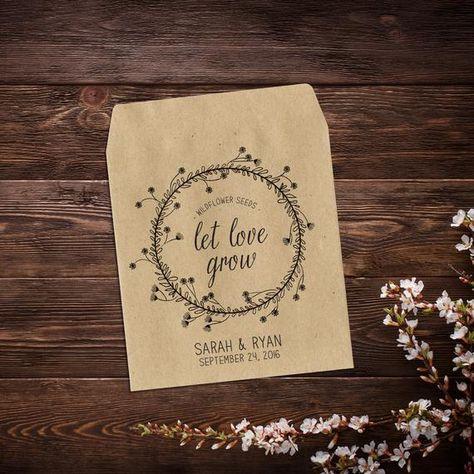 Wedding Favor Seed Packet, Personalized Seed #seedfavors #weddingfavors #bridalshower #seedenvelopes #seedpackets #letlovegrow #rusticwedding #personalizedfavors #seedfavor #weddingseedpackets #bohowedding #bridalshowerfavor #wildflowerseeds