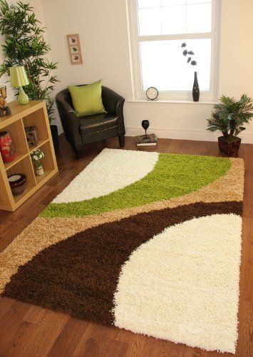 Helsinki 1960 Cream Lime Green Brown Modern Next Style Shaggy Rugs 5 Sizes