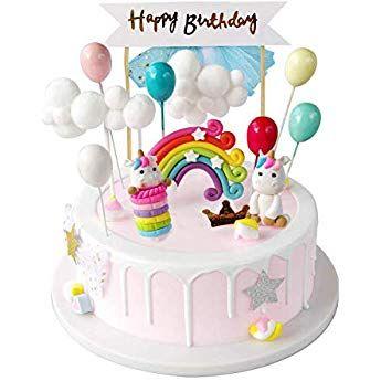 Izoel Tortendeko Einhorn Geburtstag Kuchen Regenbogen Happy