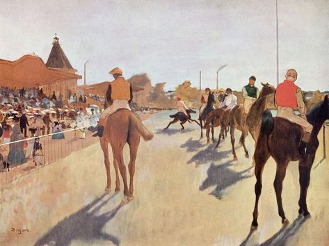 Edgar Degas, Cavalli da corsa davanti alle tribune, 1866-1868, olio su tela, 46×81 cm, Museo d'Orsay, Parigi