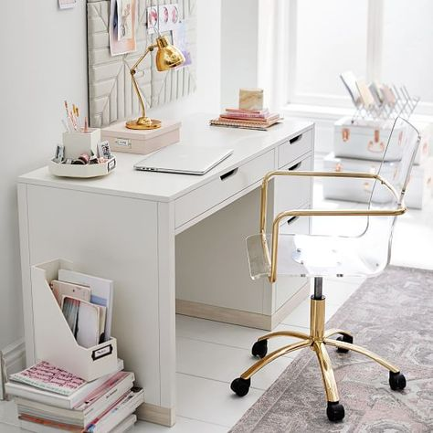 Most Neglected Fact About White Office Decor Exposed 199 - athomebyte Home Office Space, Home Office Desks, White Desk Furniture, Study Room Decor, Room Art, Home Office Organization, Office Setup, Office Ideas, Organization Ideas