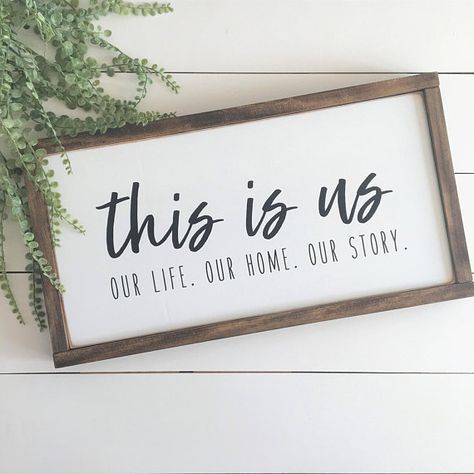 12x22 Shown here with a WHITE background, BLACK lettering, and DARK WALNUT frame. This is us. Our life. Our home. Our Story. Every family has a story that makes them who they are. Add this to your gallery wall to help tell your story! This item is handmade right on the farm here