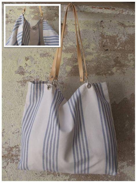 Bolso de tela para colgar al hombro en tapicer a de rayas - Telas para tapiceria ...