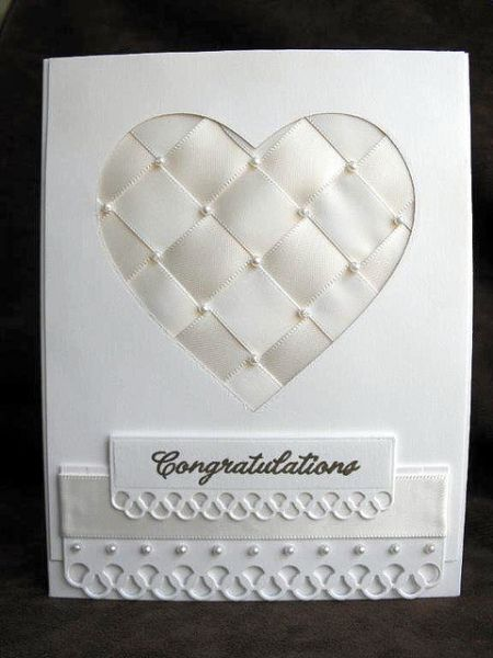 Handcrafted Wedding Card Ribboned Heart Woven Satin Ribbon With Tiny Pearls At The Crossings All White Beautiful