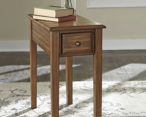 Solid Wood Chairside End Table With Usb Ports Outlets Warm