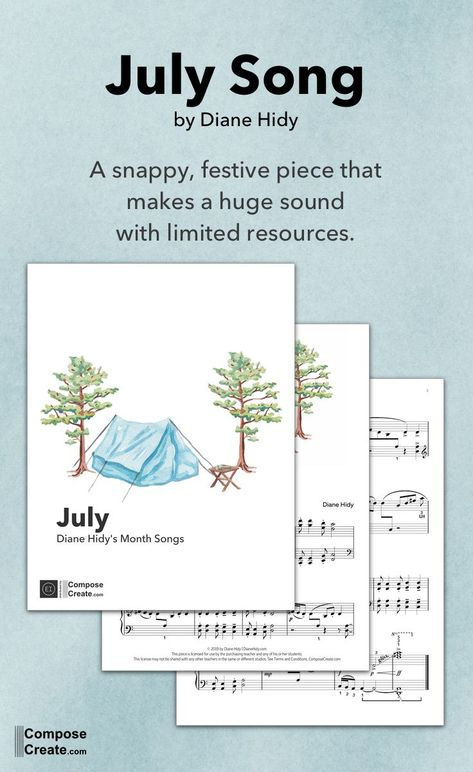 July Song by Diane Hidy is a snappy, festive piano solo that makes a huge sound with limited resources. Early intermediate. #piano #solo #piece #diane #hidy #july #summer #music #bright #energetic #big #sounding