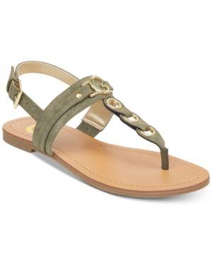 G by Guess Lesha Flat Sandals - Green