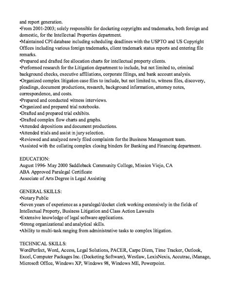 Compliance Paralegal Resume Sample -    resumesdesign - intellectual property attorney sample resume