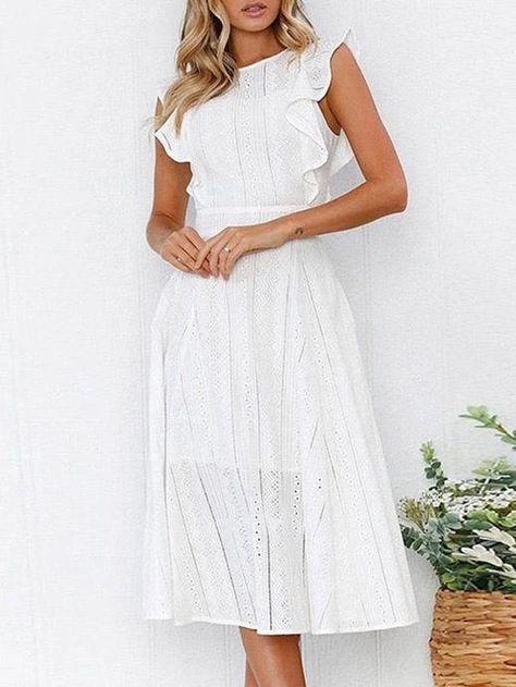 Lace Hollow Fuffled Irregular Midi Dress – Jartini fashion dress simple dresses wedding dress styles dress beautiful #dresses  #falldresses #outfitsdresses #fashiondress #simpledresses #partydressesnight