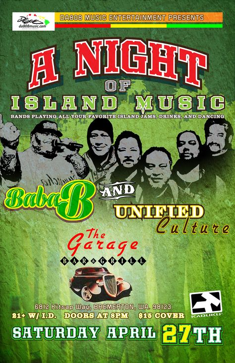 Baba B The Garage Bremerton Music Bands Concert Posters Concert