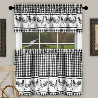Mikesell Country Kitchen Plaid Check 3 Piece Kitchen Curtain Set
