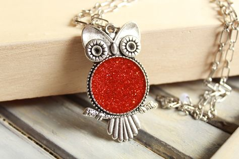 Owl necklace, Owl jewelry, silver owl, red owl, resin necklace, long necklace, resin jewelry, silver necklace, red necklace, gift for her