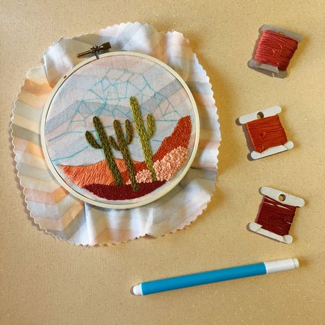 Daytime Cactus Desert Landscape DIY Beginner Embroidery Kit