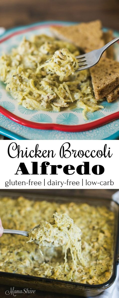 Delicious Chicken Broccoli Alfredo made with spaghetti squash. Gluten free Dairy free Low carb and Trim Healthy Mama-S The post Delicious Chicken Broccoli Alfredo made with spaghetti squash. Gluten free Dair appeared first on ketorecipes. Dairy Free Low Carb, Dairy Free Diet, Low Carb Keto, Gluten Dairy Free, Lactose Free Keto, Pasta Sin Gluten, Keto Vegan, Vegetarian Keto, Vegan Protein