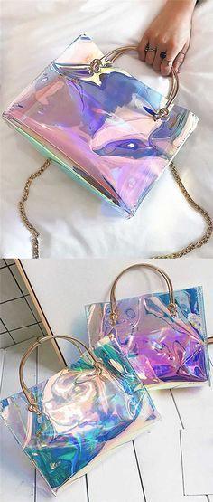 Rainbow Clear Bags Tote Fashion Waterproof Bag Beach