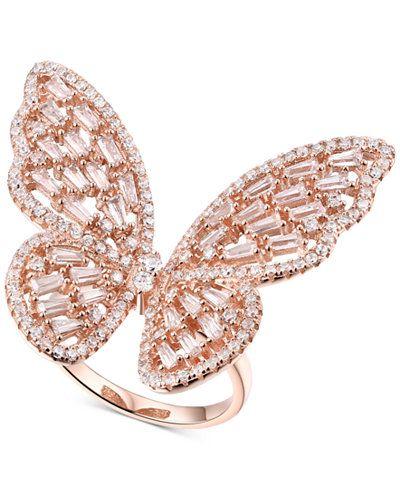 Wedding Women Filigree wing white gold filled CZ Cocktail ring size adjustable