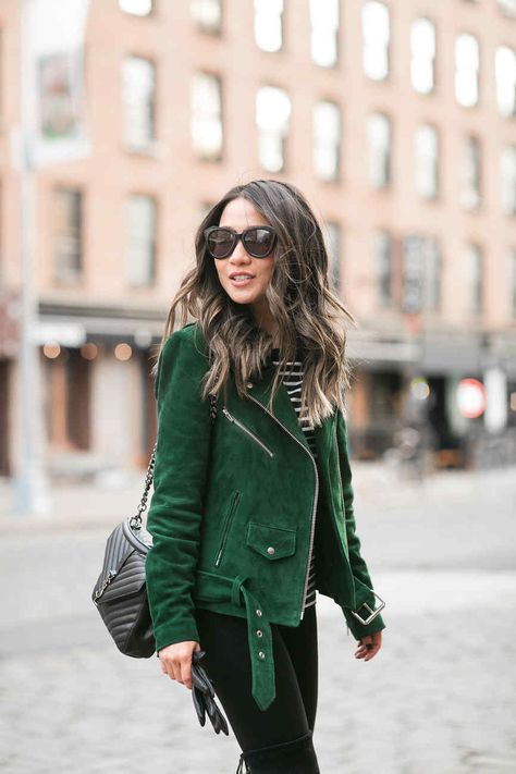 Frozen in NYC - Green suede jacket and high boots
