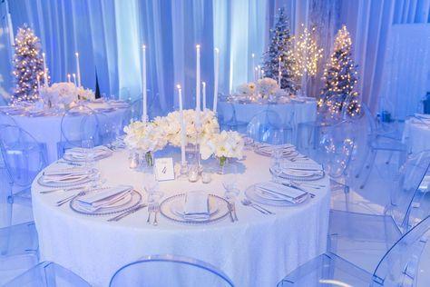 Winter Wonderland Wedding Theme, Winter Wonderland Decorations, Winter Wonderland Christmas, Winter Themed Wedding, Winter Weddings, Romantic Weddings, Christmas Wedding Themes, Wedding Decorations, Quince Decorations