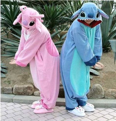 New NEW Adult/Animal/Kigurumi Pajamas Costume Cosplay Pyjamas Blue Stitch Angel Lilo cosplay. Fashion is a popular style Cute Couple Halloween Costumes, Trendy Halloween, Cute Costumes, Halloween Outfits, Fancy Dress Costumes Couples, 3 People Costumes, Children Costumes, Disney Halloween, Costume Ideas