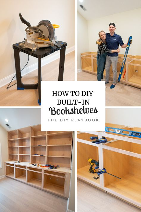 Want to add custom built-in bookshelves to your home? Here's our step by step tutorial to do just that. Starting with installing the base kitchen cabinets #DIYbuiltins #builtins #entertainmentcenter #shelves